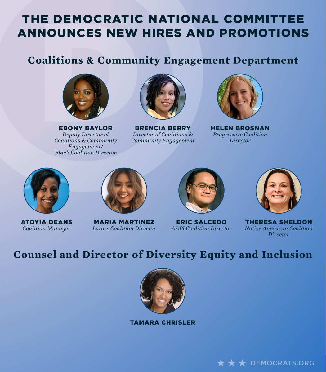 The Democratic National Committee is proud to announce the creation of the Coalitions and Community Engagement Department, the creation of the Counsel and Director of Diversity, Equity, and Inclusion position and new hires to both the Coalitions and Mobilization Departments. https://t.co/ZjnBFTHTSD