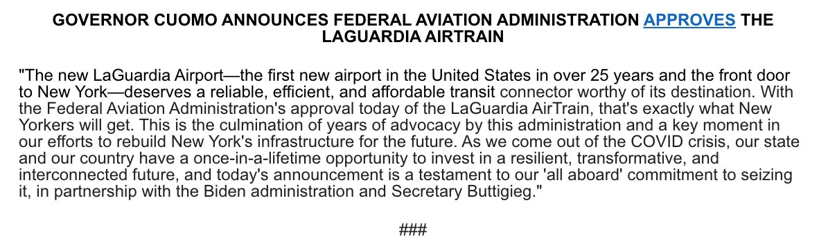 #NEW: The FAA has approved the LaGuardia AirTrain, which will provide the new LGA with the reliable and affordable transit connector it deserves.  This is a key moment in our effort to rebuild NY's infrastructure for the future working alongside our federal partners. https://t.co/FhV1he6fns