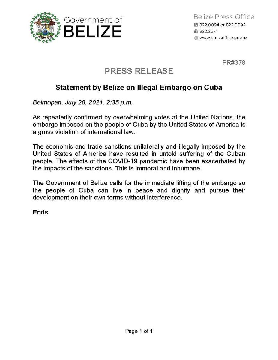 test Twitter Media - PRESS RELEASE: Statement by Belize on Illegal Embargo on Cuba https://t.co/RI5Xmi4Gog