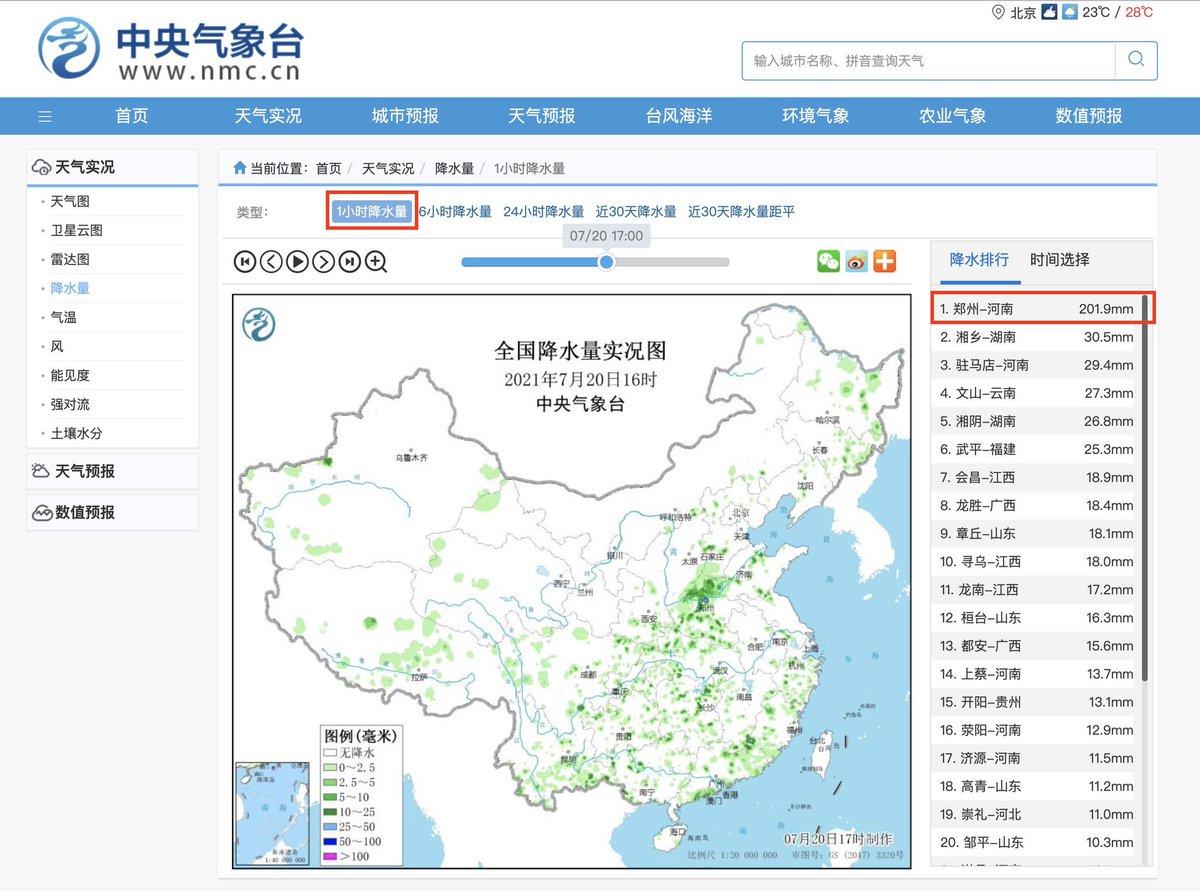 Terribles inondations dans l'est de la #Chine actuellement. Plus de 200mm de précipitations relevées en 1h à #Zhengzhou dans la province d'#Henan, ce qui pourrait être un record national ! Les dégâts sont considérables. #flooding #ChinaFloods