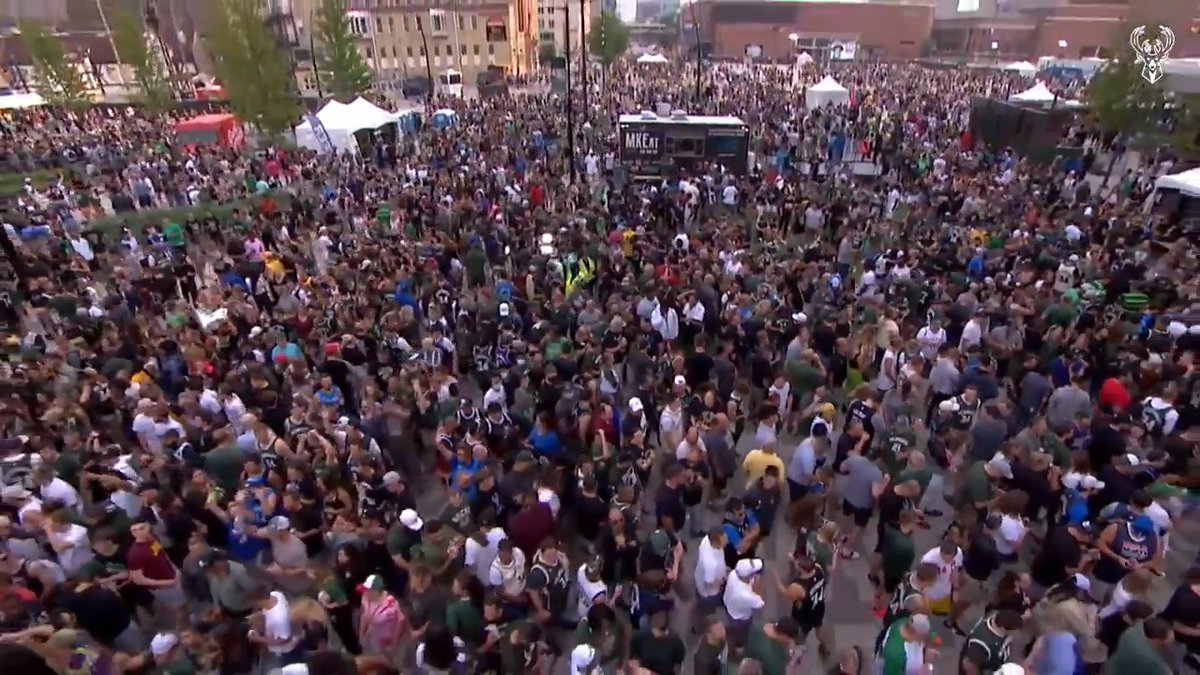 The @Bucks expanded their Deer District to allow up to 65k fans for tonight's Game 6 👏 https://t.co/8KPopB2yrL