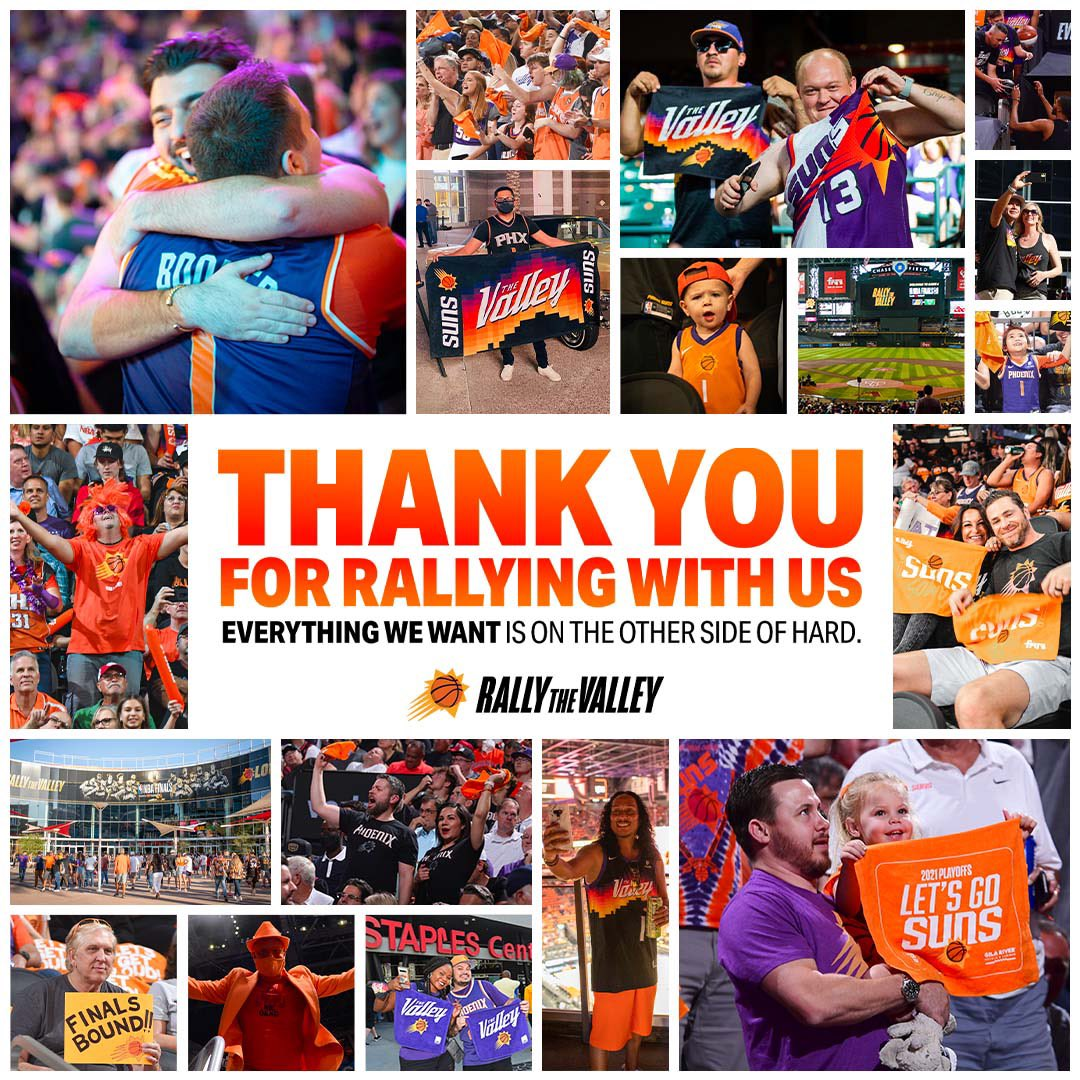 Thank you Suns fans for EVERYTHING this season 💜🧡  Everything we want is on the other side of hard. https://t.co/3enTUD9Ji3