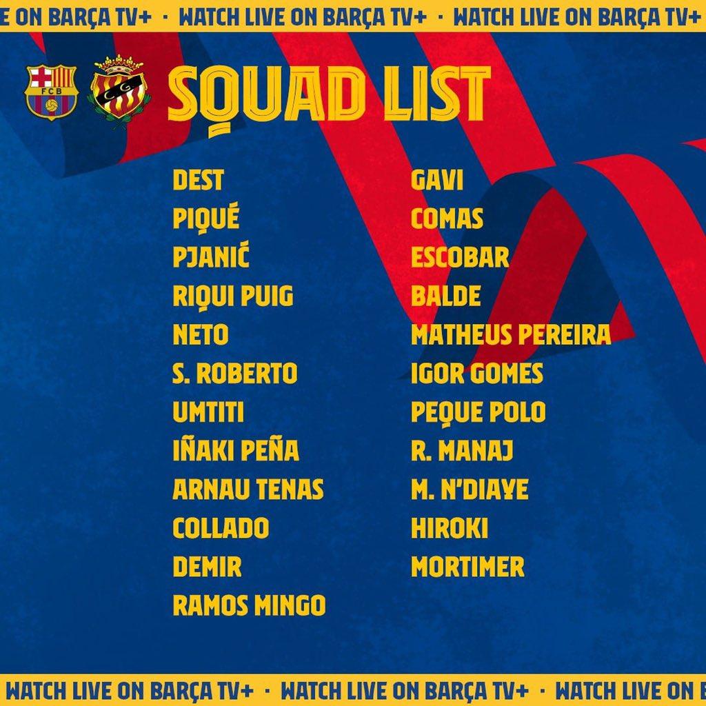 Estos son los 23 convocados del Barcelona para el amistoso de hoy frente al Nastic a la 7 de la tarde en el Johan Cruyff https://t.co/dOd4Gi2SnC