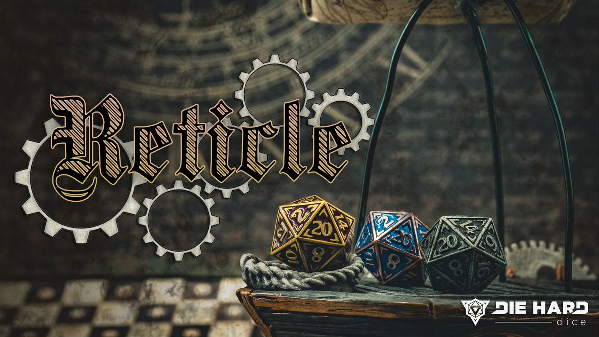 Take your adventures to the seas, skies, or stars with #Reticle: new RPG #dice sets coming soon!  #DnD #Steampunk #SciFi