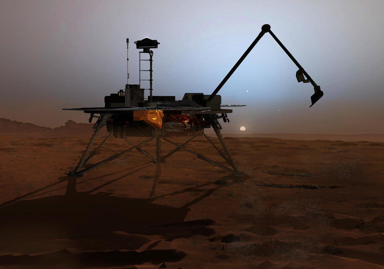 Render of the Phoenix lander on the hazy surface of Mars