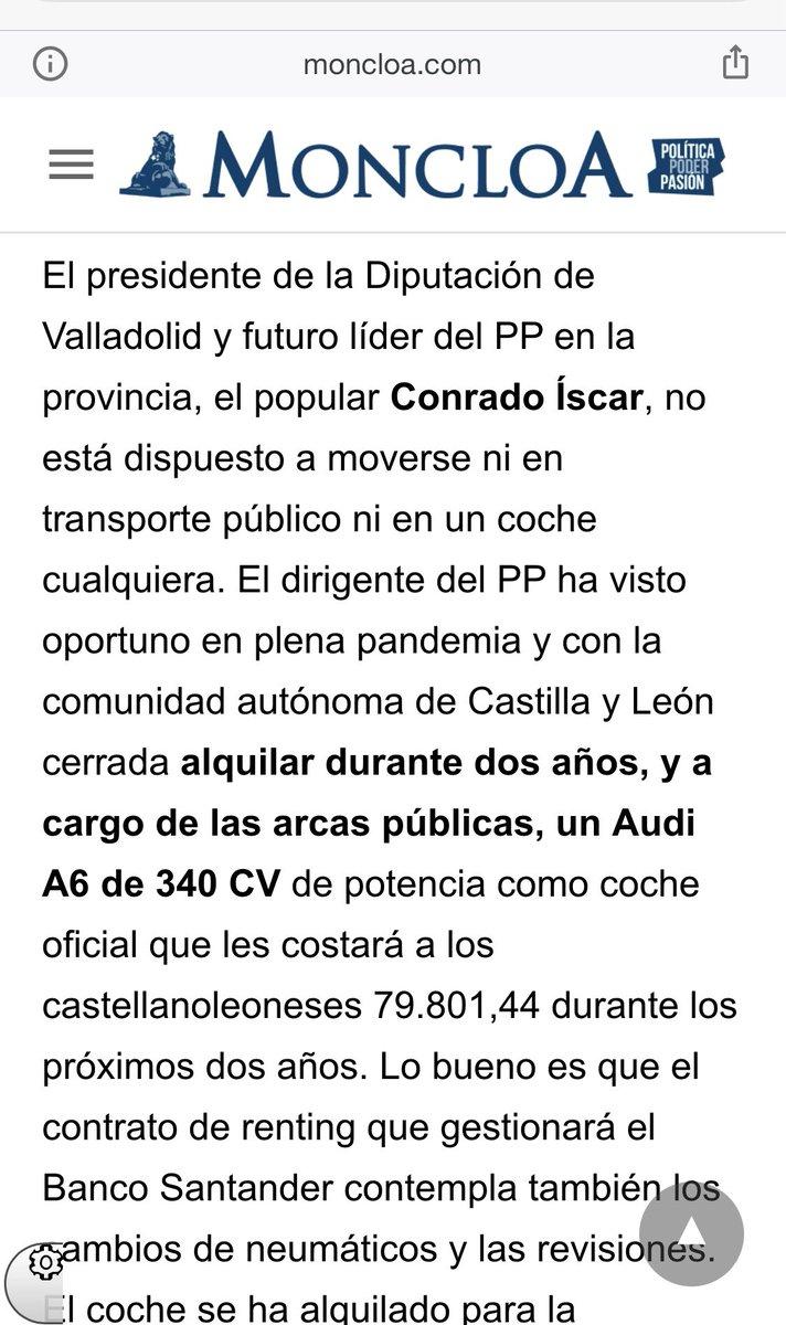 Mecagoendios @Conrado_Iscar 3310€/mes por el puto cochecito oficial? No lo había aún más caro? @PPValladolid en serio estamos para semejantes despilfarros para pasear a nuestros politicuchos como si fuesen estrellitas de rock? #Valladolid