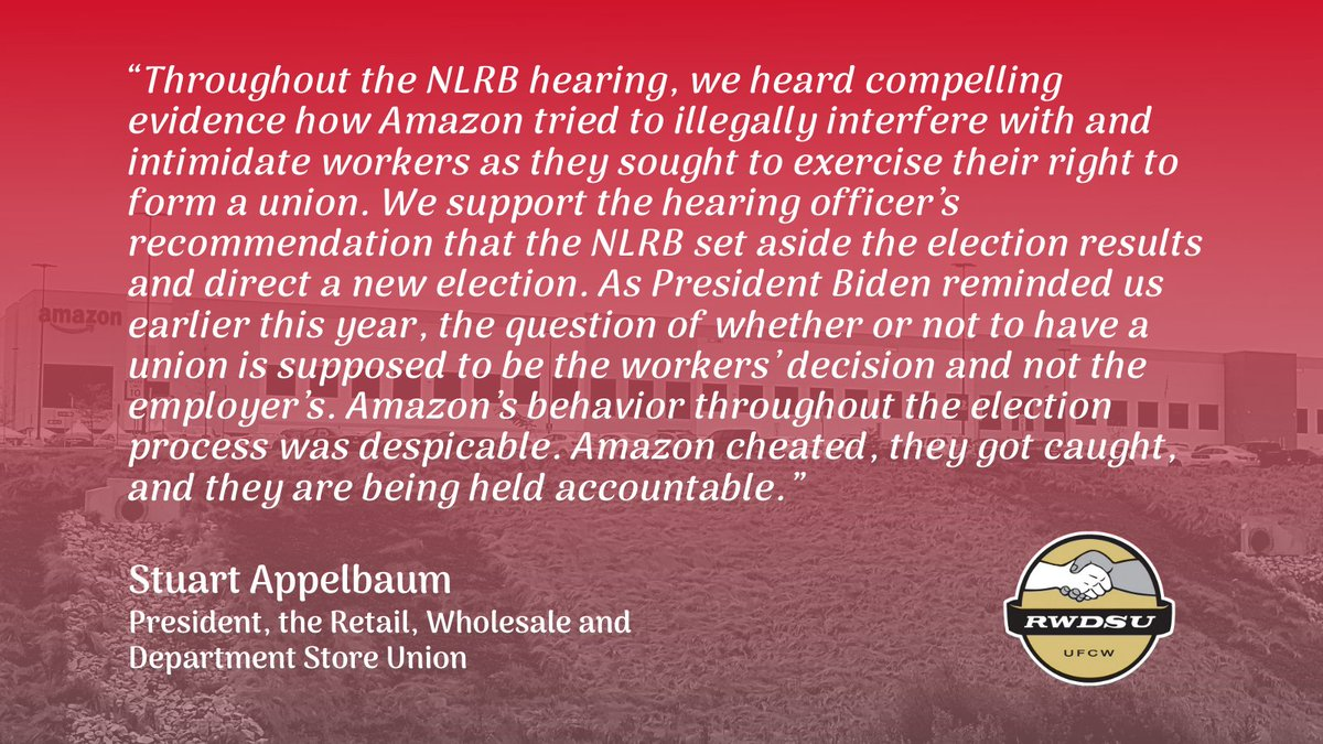 Today's NLRB decision is further evidence of how Amazon, with its exploitative business model & anti-union record, continues to violate workers' rights and drive down industry standards. #Teamsters stand with our sisters & brothers in Bessemer seeking representation with @RWDSU.