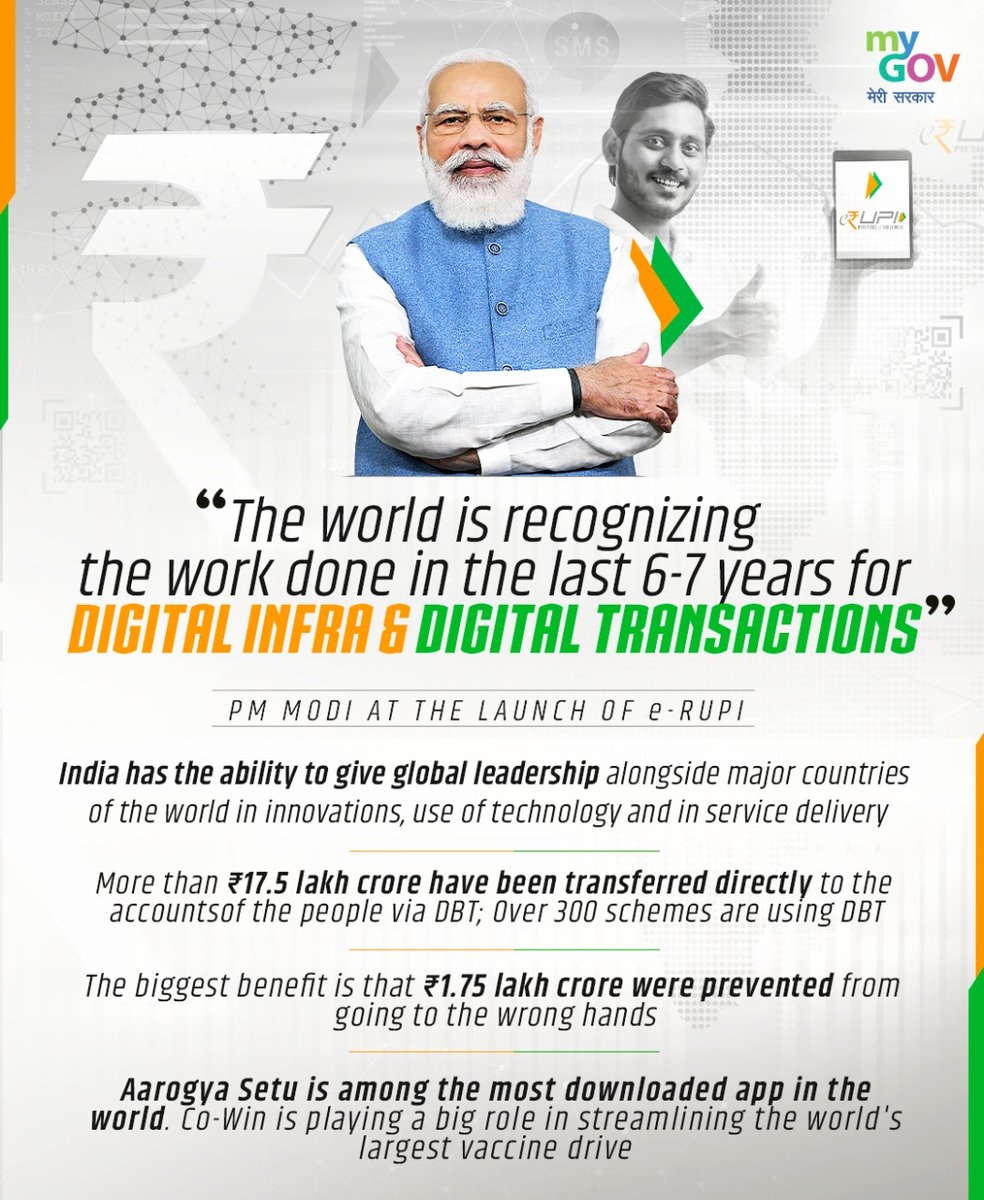 Digital transformation for easy access and transparency by PM Modi Government.  @narendramodi  #eRUPI  #NewIndia
