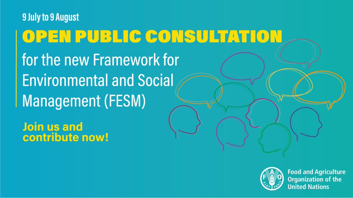 test Twitter Media - The public consultation on @FAO's new Framework for Environmental & Social Management Guidelines is still open!  Its your last chance to contribute to the revised sustainability standards which guide FAO projects & programmes.  https://t.co/0iaxEDw2rc  Send comments by 9 August https://t.co/B6fd3Si6Xn