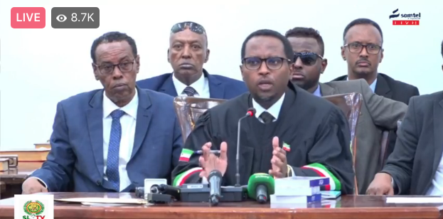 The Honourable Chief Justice at Tuesday's inaugural session of the Somaliland Parliament