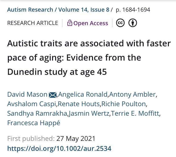 Fascinating new research from David Mason @HappeLab & team - #autistic traits are associated with faster pace of #aging in cohort study