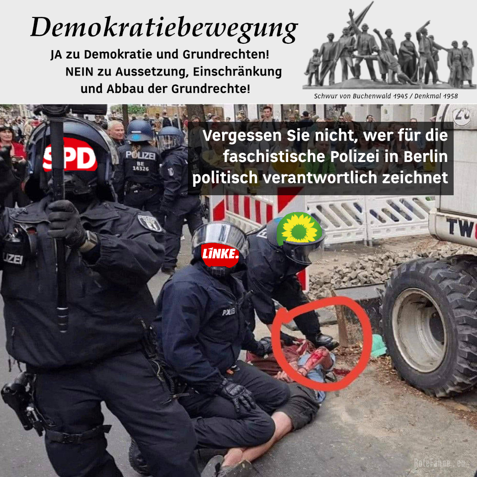 Vergessen Sie nicht, wer für die faschistische Polizei in Berlin politisch verantwortlich zeichnet