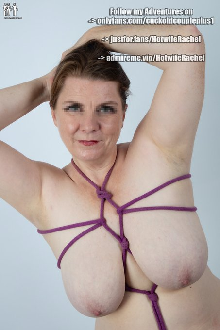1 pic. How about some breast bondage for TittyTuesday.  Shibari and rope bondage really pushes my submissive