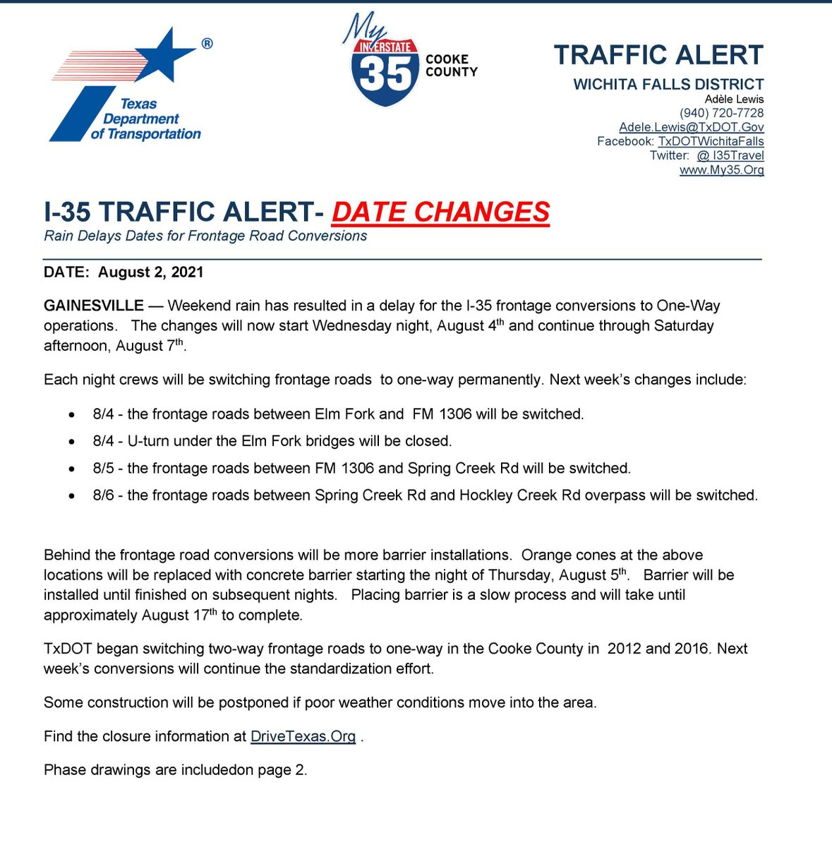 Image posted in Tweet made by I-35 TxDOT PIOs on August 3, 2021, 7:33 pm UTC