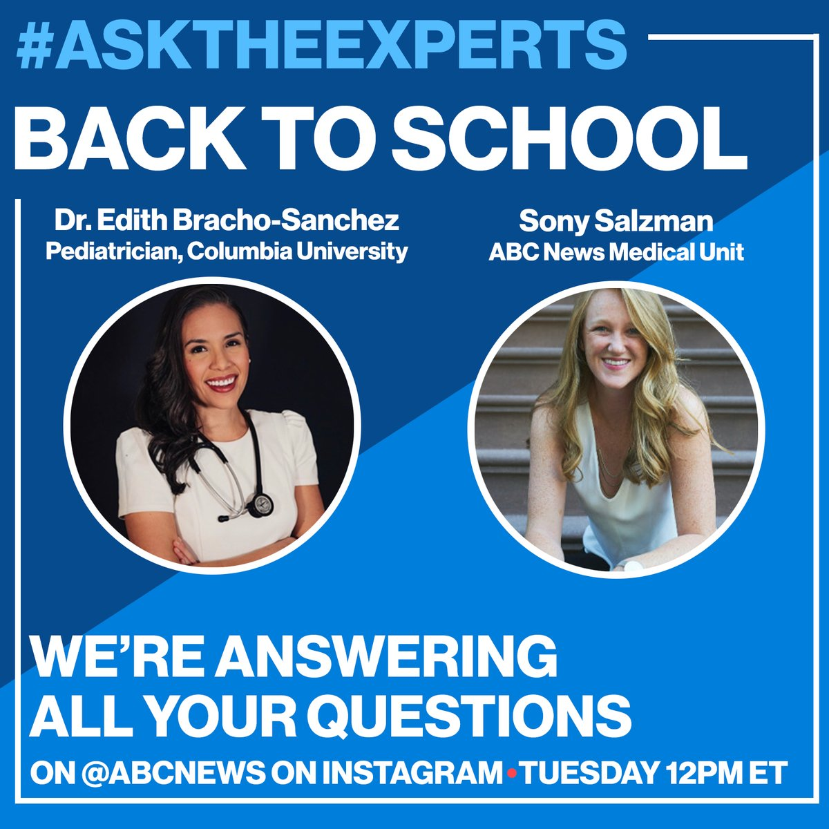 #TuneIn today at 12pm ET as #NYP/@ColumbiaMed Pediatrician @DoctoraEdith speaks with @ABC's @sonysalz and answers your #BacktoSchool2021 questions #LIVE on Instagram.