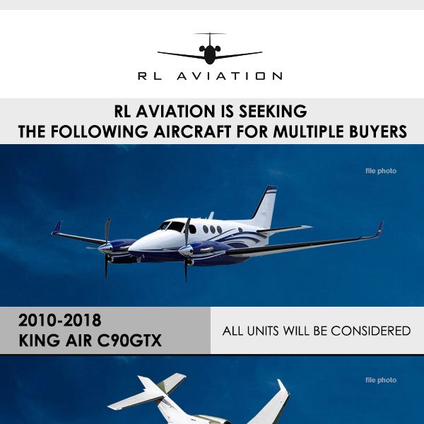 Multiple aircraft sought for acquisition at RL Aviation 2010 - 2018 #King #Air #C90GTX 2001 - 2005 #Hawker #800XP 2002 - 2006 #Embraer #Legacy 600 #Citation #CJ3/ #CJ3+/ #CJ4 Contact them at: https://t.co/rYLO3TxBlT  #bizjet #bizav #privateflying #jetforsale #businessaviation