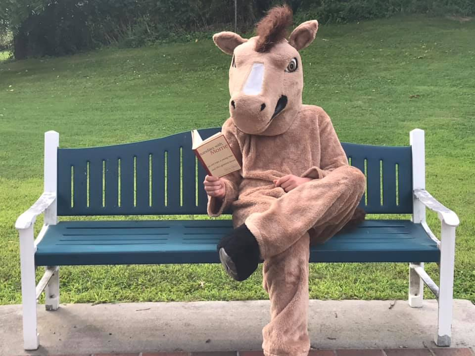 """test Twitter Media - How did you spend your Tuesday? The @Ihsmustangs mascot was spotted checking off a book on his summer reading list by finishing up """"Tuesdays with Morrie."""" @Diobpt @BptSup @CathSchoolNews @NCEATALK #tuesdayvibe 📚 https://t.co/bbFUVMREWb"""