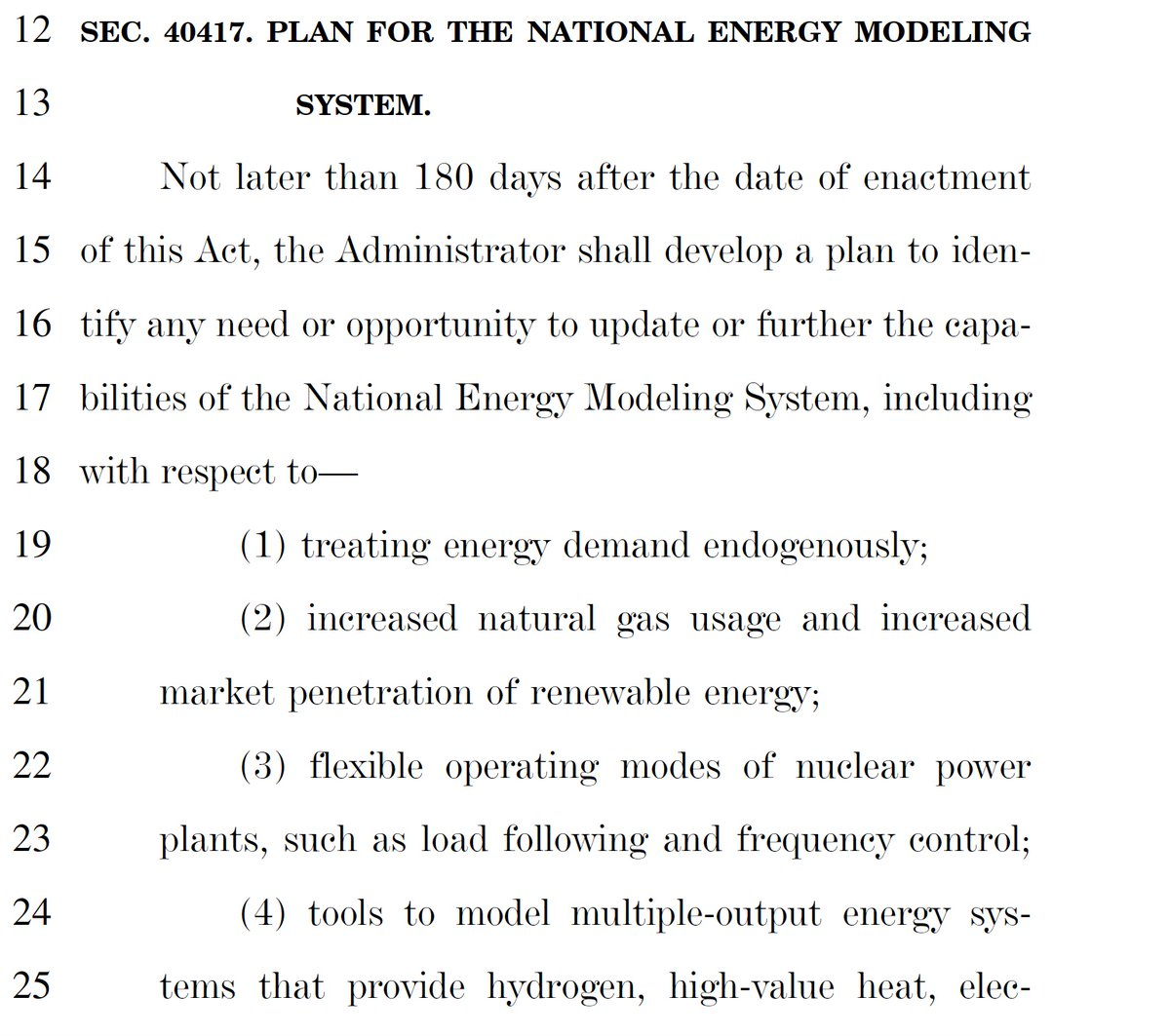 Wow. It looks like @EIAgov's 'bedrock' National Energy Modeling System (NEMS) is getting a Congressionally-directed, open-source, open-data refresh!! #FreeTheModels gets written into the Bipartisan Infrastructure Deal.   @jfdecarolis must have done some good lobbying here 😉 https://t.co/h4pLG5PKoE
