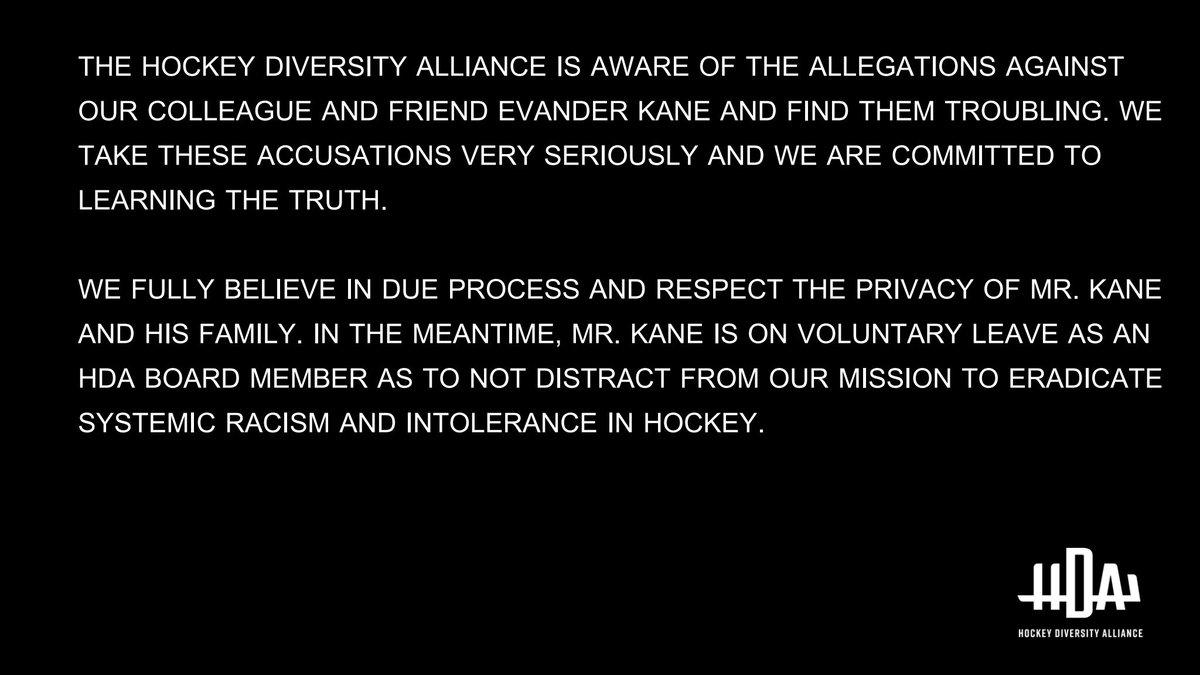 Statement regarding allegations against Evander Kane.