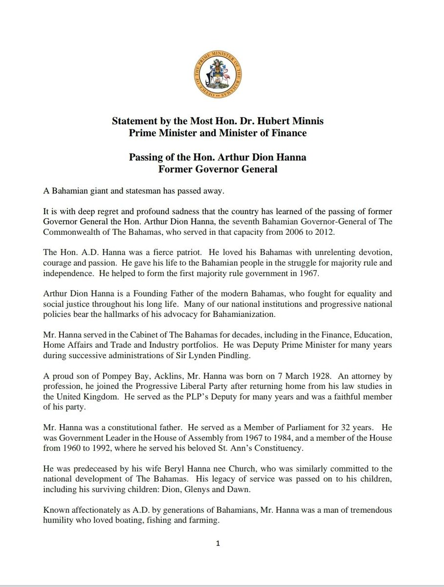 Statement by Prime Minister Dr. Hubert Minnis on the passing of the Hon. Arthur Dion Hanna