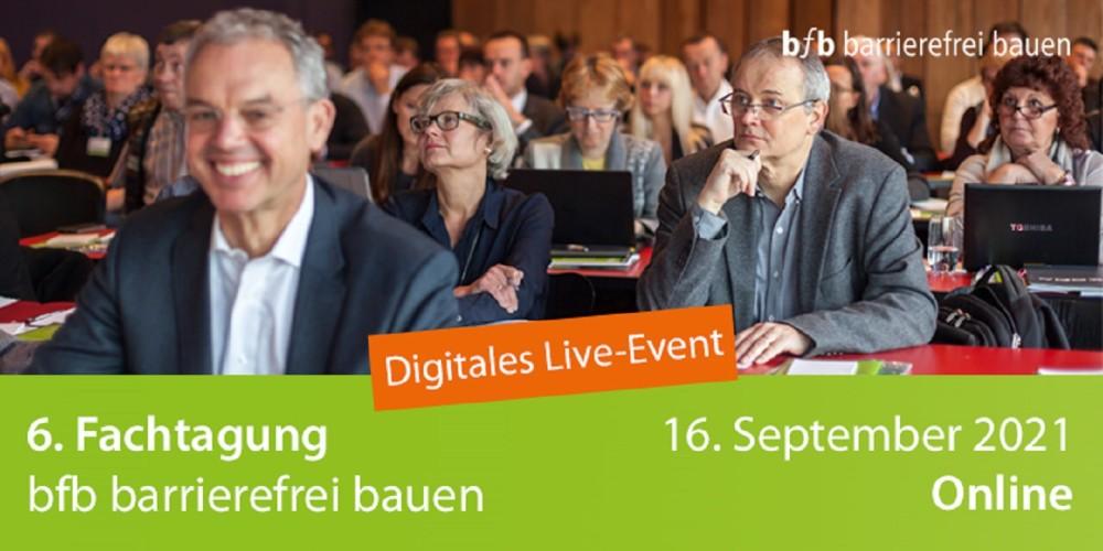 6. Fachtagung bfb barrierefrei bauen als digitales Live-Event am 16. September 2021: Es erwarten Sie hochkarätige Vorträge und spannende Fragerunden zum bedarfsgerechten barrierefreien Bauen.   https://t.co/iqbVVd15bi https://t.co/JPgRDk2n4u