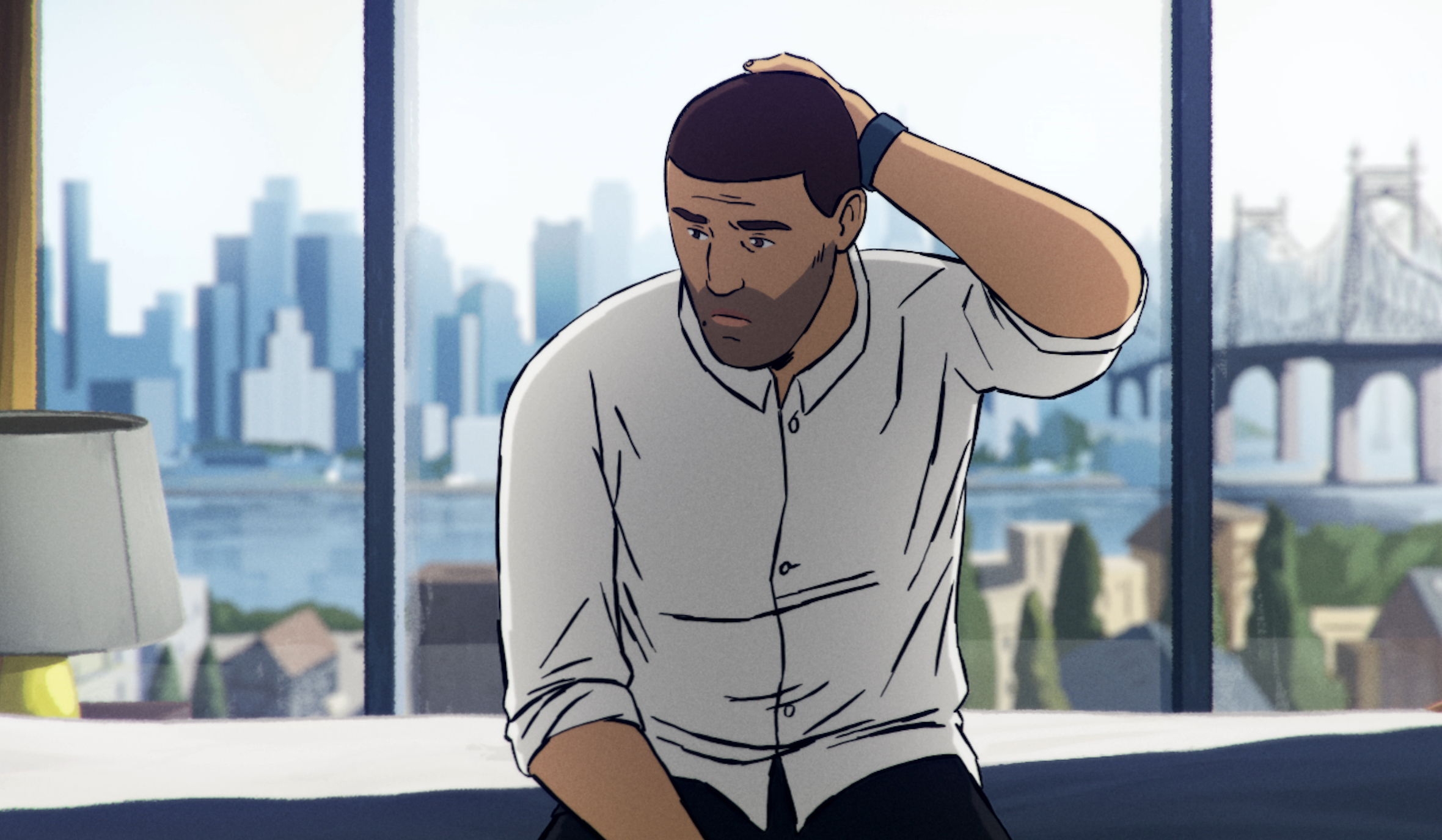 An animated version of a documentary subject from Afghanistan sits on a bed unsurely rubbing the back of his head, with a floor-to-ceiling window showing a city behind him.