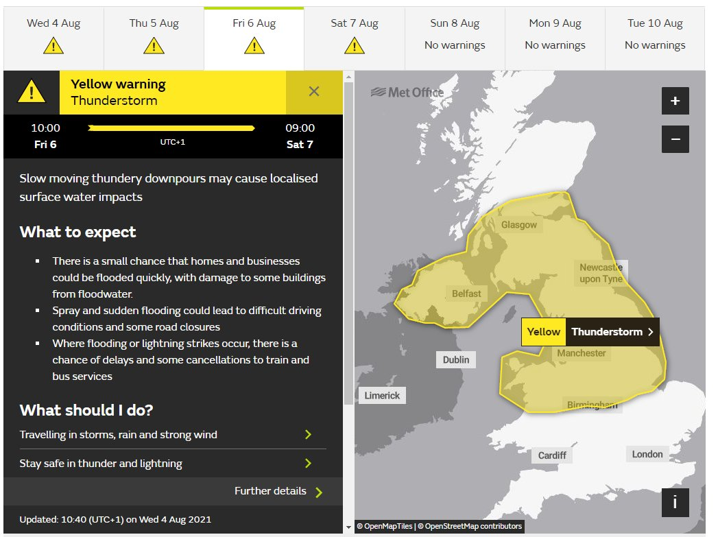 test Twitter Media - ⚠️YELLOW WEATHER WARNING⚠️  The @metoffice have issued a YELLOW weather warning for  THUNDERSTORMS⛈️  Friday (6th August) at 10:00 until Saturday (7th August) at 00:00.   Full information can be found here👉 https://t.co/s10vv4halc  #DriveSafe https://t.co/4c5BkDy4yE