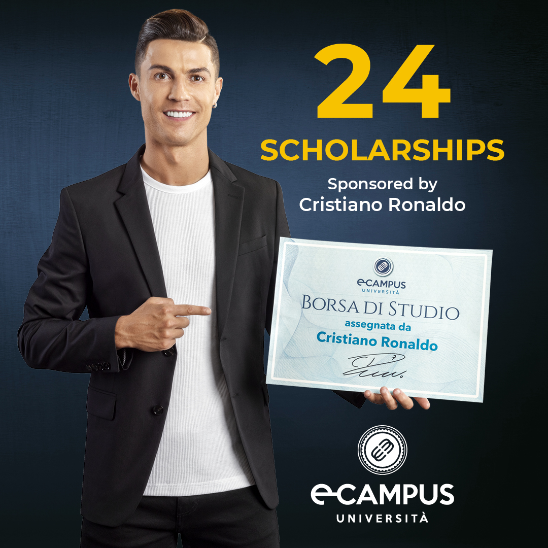 Don't give up on the dream of graduating! Take part in the selection for the 24 eCampus scholarships that I am happy to donate. Send your application by 12 September on cr7.uniecampus.it. I will be proud to support your studies! @uni_ecampus