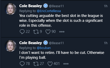 """Cole Beasley talks about the #Bills options about his future.  He won't retire, they'll have to cut """"arguably the best slot in the league"""" or he's playing unvaccinated. https://t.co/hjLjHIUljp"""