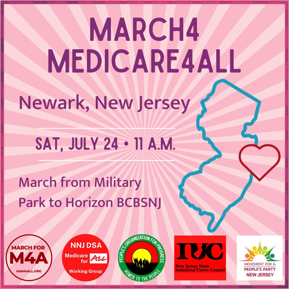 Join our Medicare for All Working Group and community partners People's Organization for Progress, NJ State Industrial Union Council, and more to march for and demand M4A!  Military Park, Newark, 11am, Saturday 7/24 https://t.co/ggG7lpKpvc