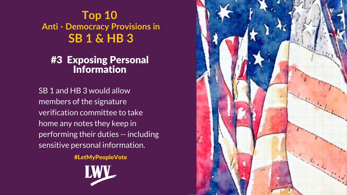 Our democracy and Texans' freedom to vote are restricted by provisions in Sb 1 and HB 3. #LetMyPeopleVote #lwv #democracy #txlege  @TexasNAACP @TXImpact @TXLULAC   https://t.co/XLF5sskoSh https://t.co/kPLdCK9DdL