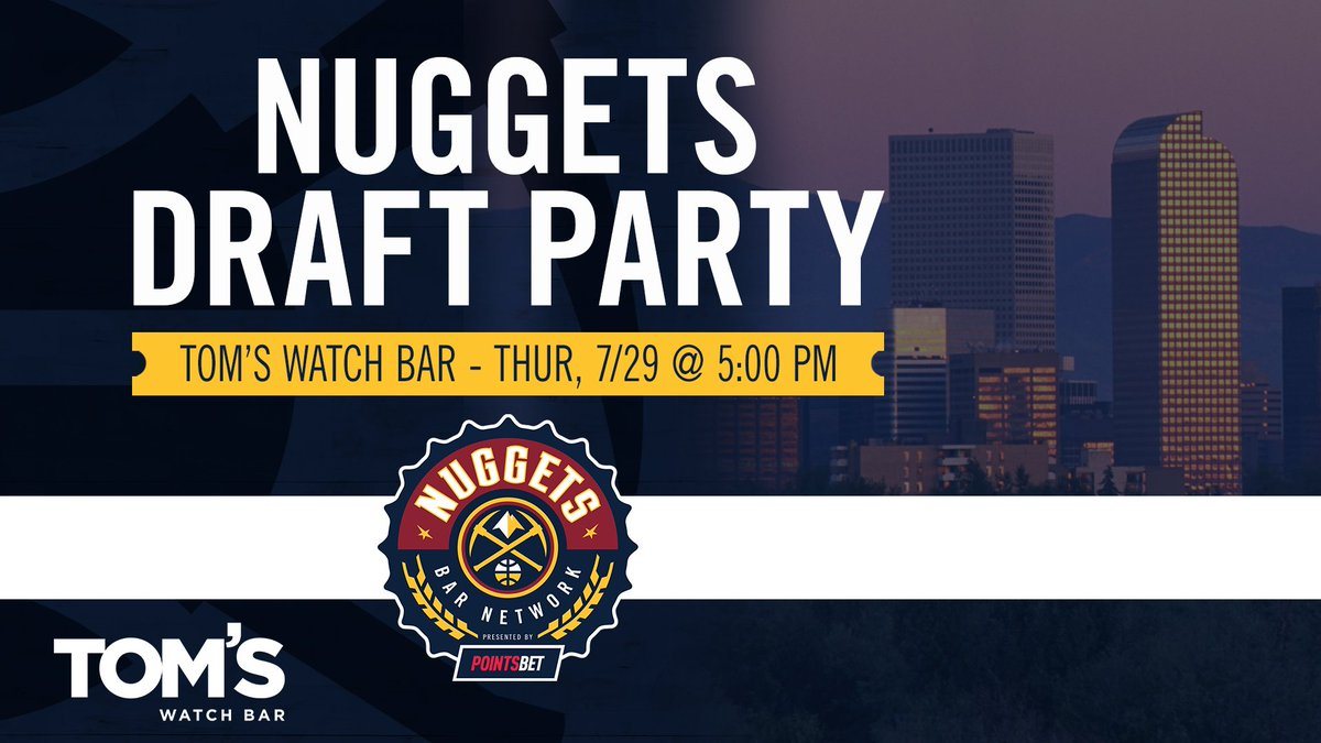 We're less than a week out from the 2021 #NBADraft!   Come join the party to see who we select with the 26th pick at Tom's Watch Bar in McGregor Square!  More info ➡️ https://t.co/N471Umh4sR  #MileHighBasketball https://t.co/E6Kzjtv2w4