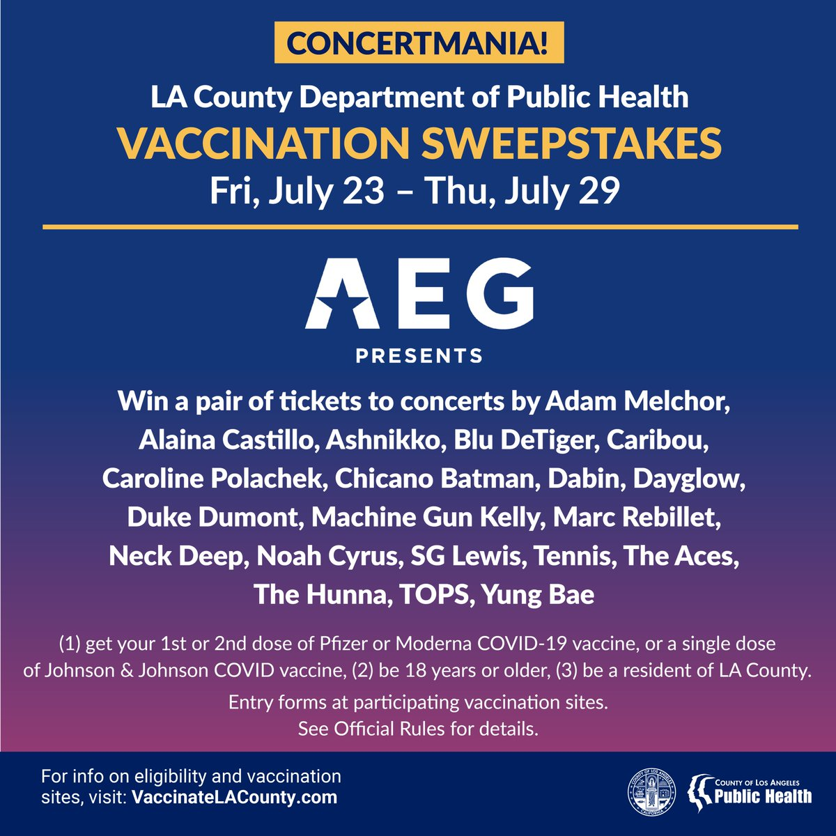 (1/2) THIS WEEK: Get vaccinated for a chance to win ticket packages from @aegpresents Concerts! Seven lucky winners will be able to attend concerts by (3) of the following: @AdamMelchor, @alainacastillo, @ashnikko, @bludetiger, @caribouband , @carolineplz, @ChicanoBatman, https://t.co/8T72tT7Qsb