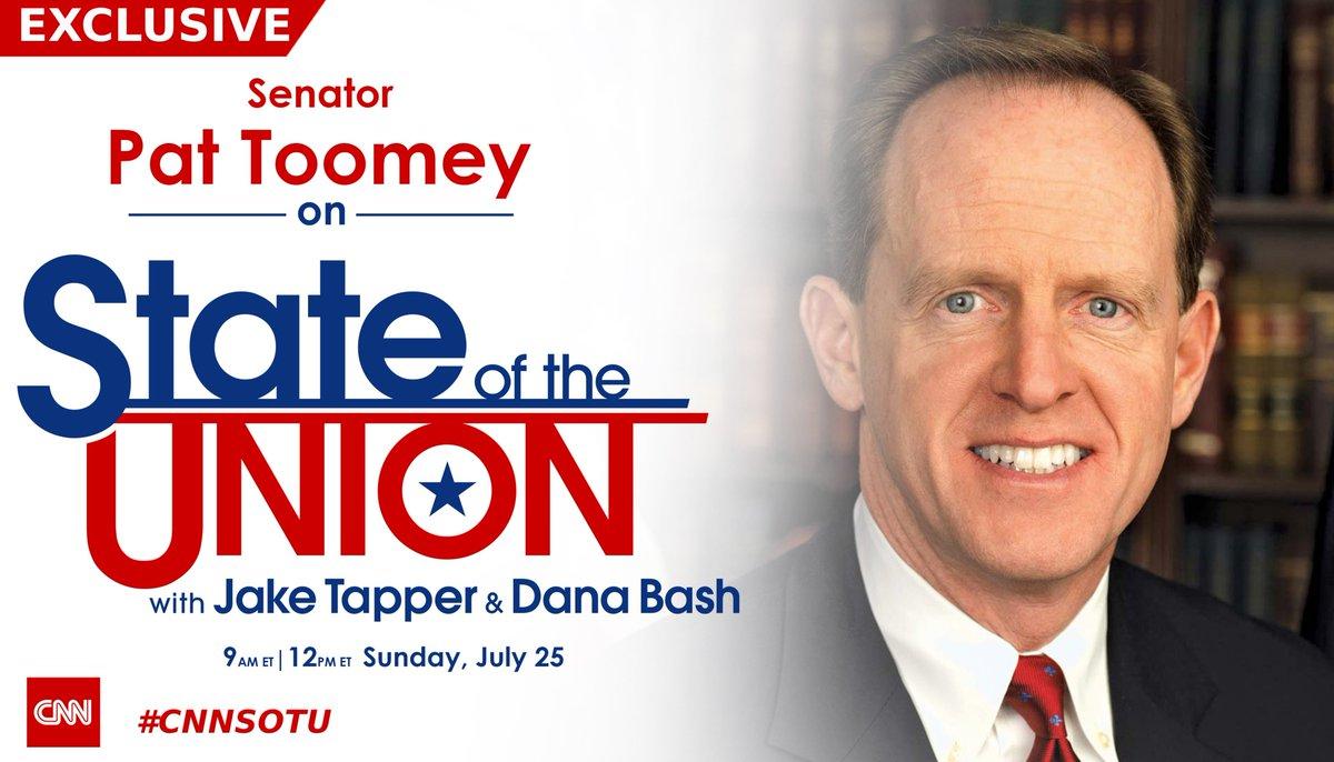 EXCLUSIVE: @SenToomey joins @jaketapper on #CNNSOTU. Hope you tune in! https://t.co/oPoMQteCNb