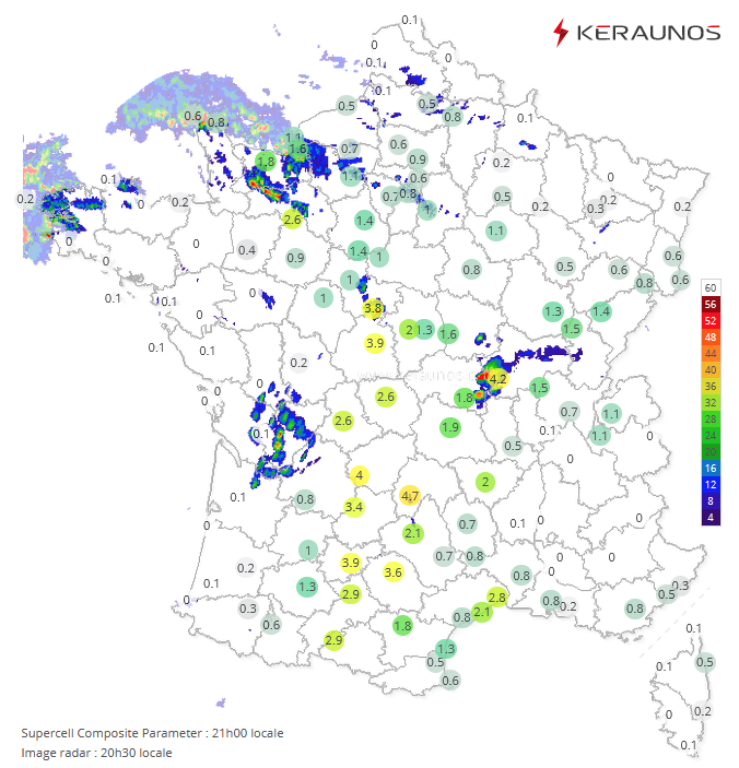 Fort potentiel de supercellules actuellement sur le centre du pays (indice > 4 loc.). Deux #orages supercellulaires ont d'ailleurs affecté #Allier et #Cher au cours de la dernière heure. Suivi temps réel ici :