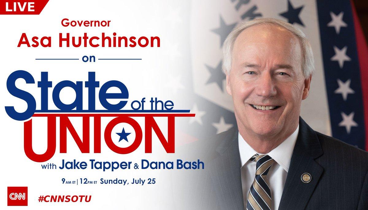 LIVE: @AsaHutchinson joins @jaketapper on #CNNSOTU. Tune in! https://t.co/UyFBIXtmig