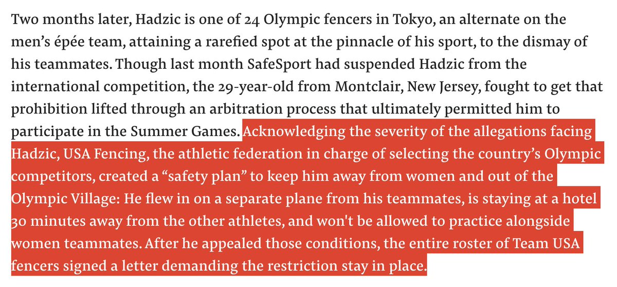 This paragraph in the @BuzzFeedNews investigation into why fencer Alen Hadzic, who is under investigation for sexual assault, is allowed to compete in the #Olympics is absolutely bonkers. I read it a couple of hours ago and can't stop thinking about it: https://t.co/KX7HGFDG81 https://t.co/dBOGrUuuFG
