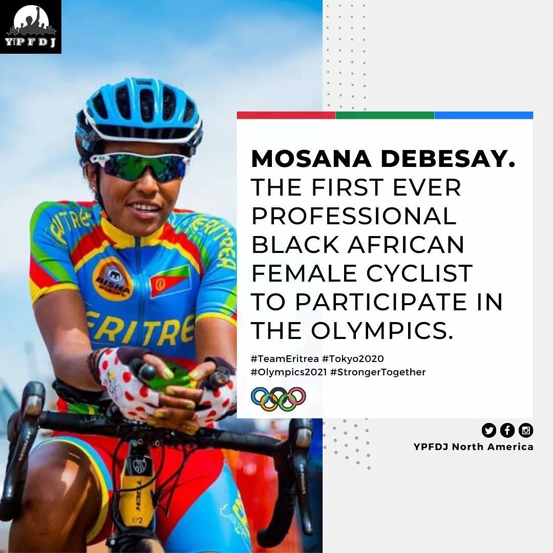 Mosana Debesay is a continental champion continuing to break records in cycling. She's one of the three cyclists participating in the Olympics this year & the FIRST Black African Female Cyclist to compete in the Olympics. 🇪🇷💪🏾❤ #TeamEritrea #Tokyo2020 #Eritrea #EritreaPrevails https://t.co/xFSu6DI1Et