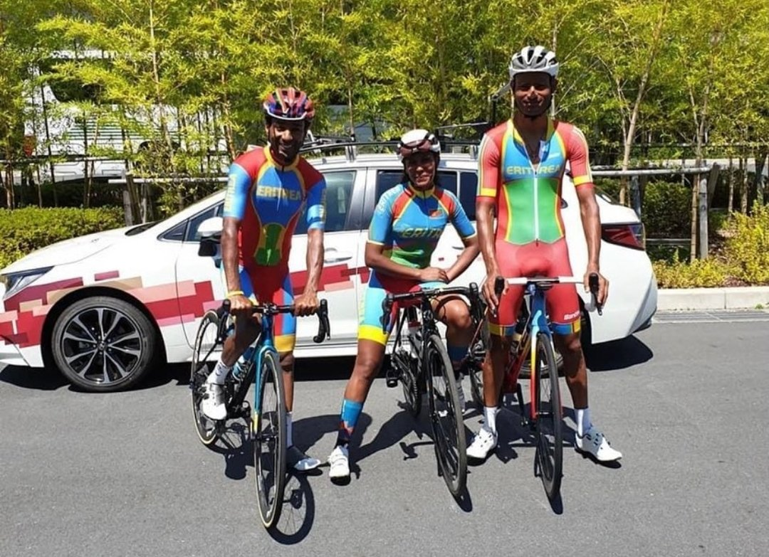 #TeamEritrea will be starting off the Olympic Games w/ Cycling: Amanuel Gebrezghiaber & Merhawi Kudus will compete July 24th at 11AM (Japan time) & Mosana Debesay on July 25th at 1PM (Japan time).  #TeamEritrea #Tokyo2020 #Olympics2021 #StrongerTogether #Eritrea #EritreaPrevails https://t.co/qHO2wtfCp3