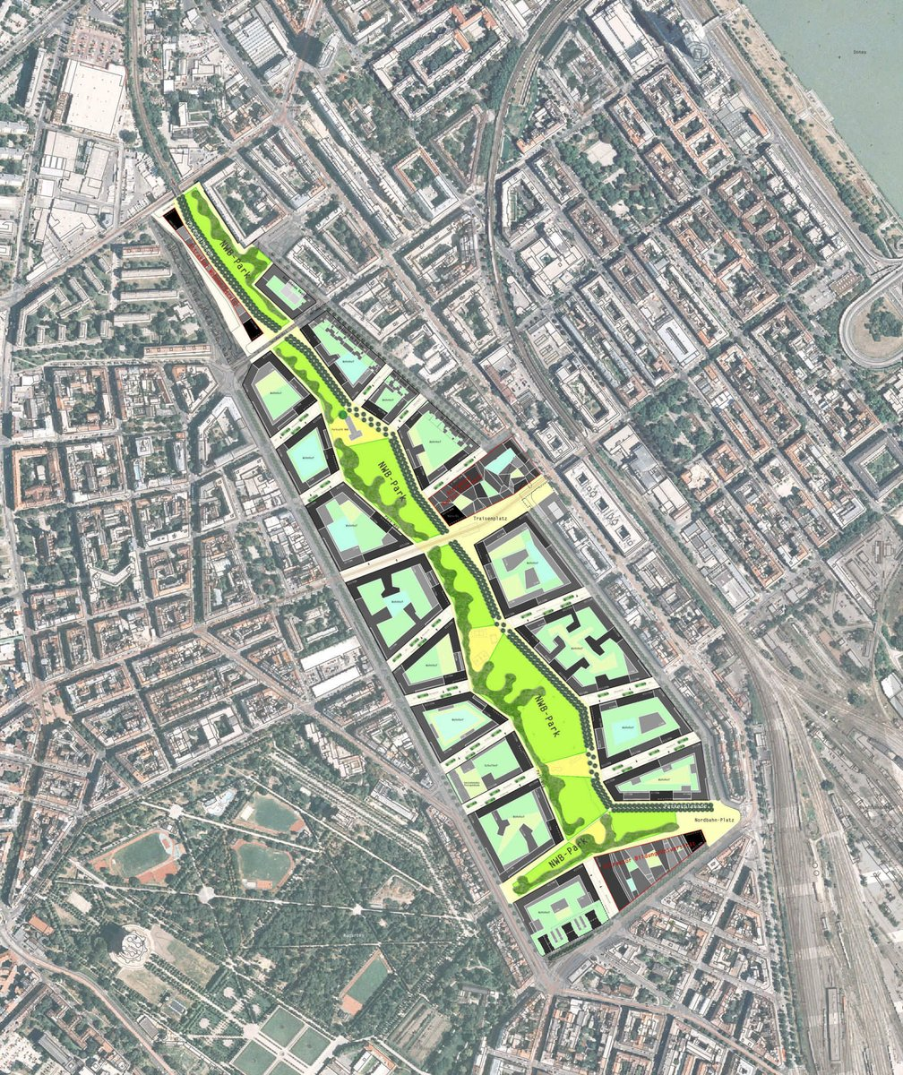 this is how vienna's developing a new, dense, walkable transit adjacent district.   massive park. connections to adjacent streets. dense perimeter blocks w/ ample semi-public and private courtyards. kindergartens. community amenities. loads social housing. jobs. cafes. schools... https://t.co/XIlDeiLFBo