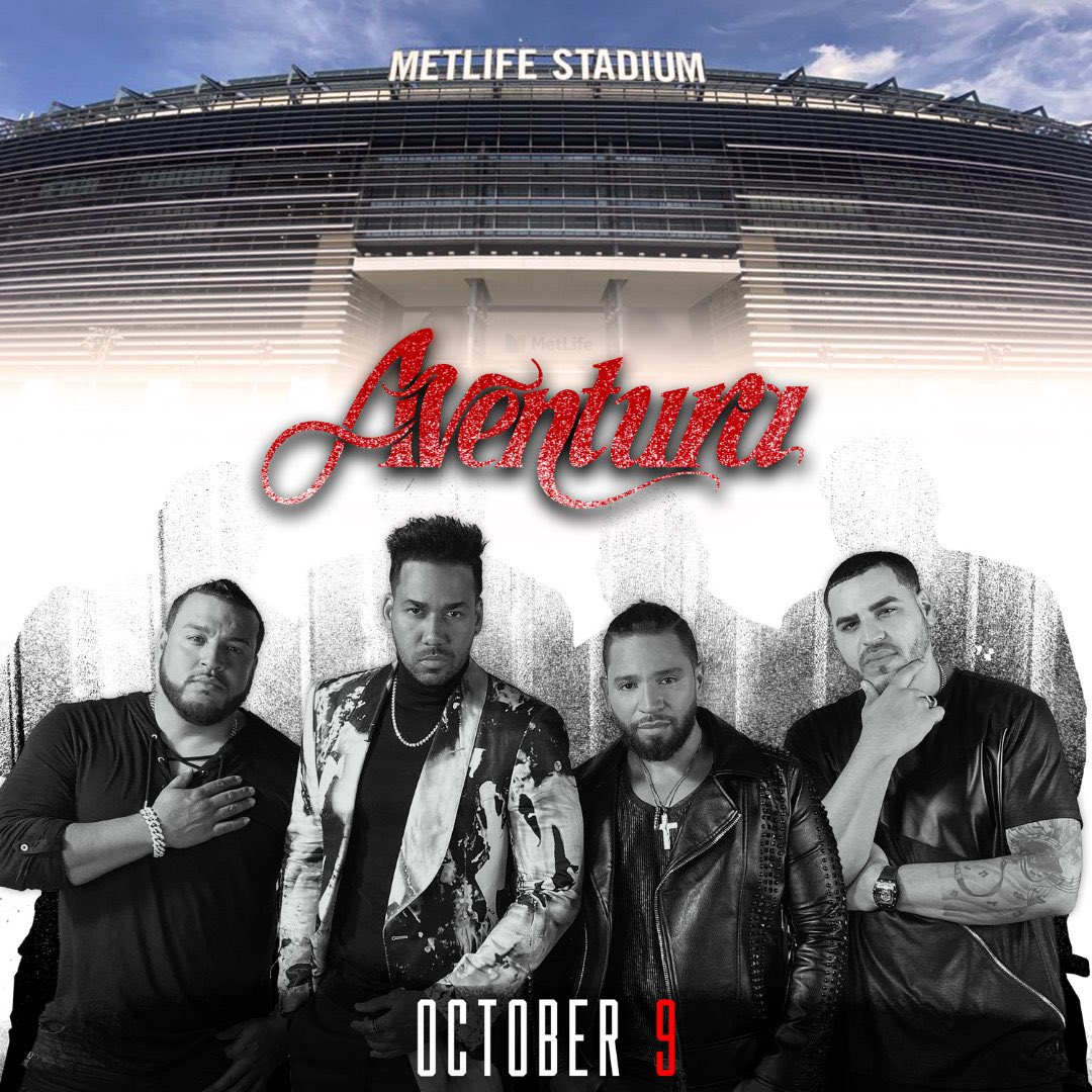 Tickets are on sale now for @Aventura at MetLife Stadium on October 9, 2021. Don't miss your chance to catch them on their final run together as a group for the Inmortal Stadium Tour.  #Aventura  Get your tickets today at https://t.co/3DU7xGNWHt https://t.co/0WzT9jM5GK