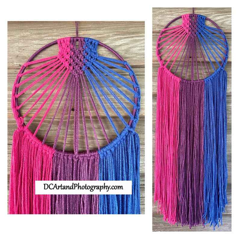 NEW #Handmade yarn #macrame is in the shop! More are coming over the next few weeks as I continue to make more with the #prideflags ! #Bisexual  #walldecor #pride #lgbtq+ #wallhanging #shopsmall #etsyshop https://t.co/f28CEanfS4 https://t.co/JPnq6R3um9