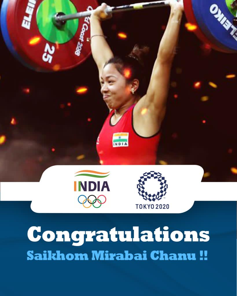Congratulations to #MirabaiChanu for our country's first medal on the very first day.   India is proud of her daughter. https://t.co/iv70x7s8Od