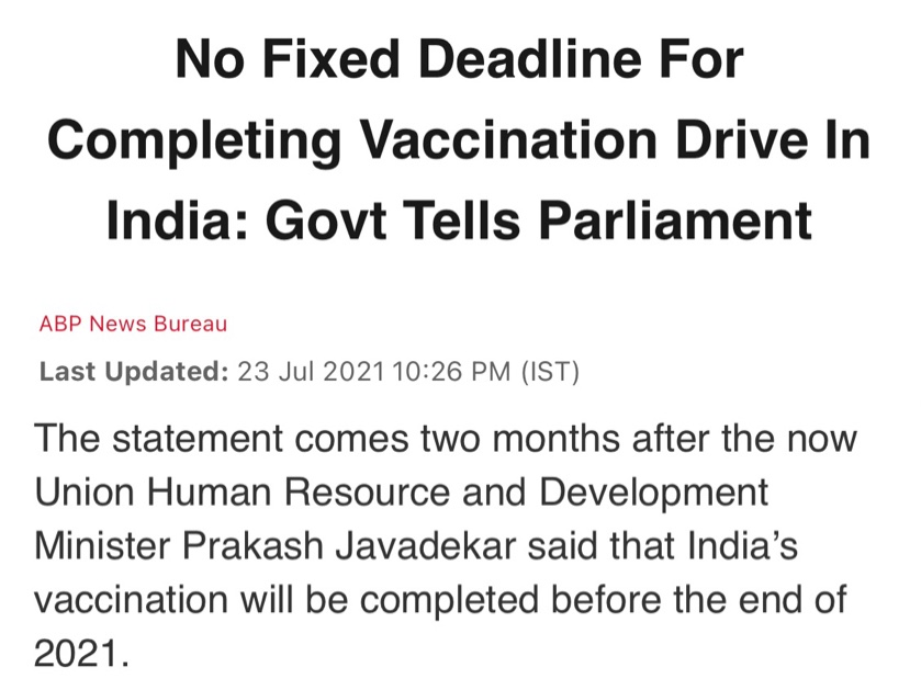 People's lives on the line, GOI admits no timeline, Classic case of missing spine.   #WhereAreVaccines https://t.co/yQ11IuHHfS