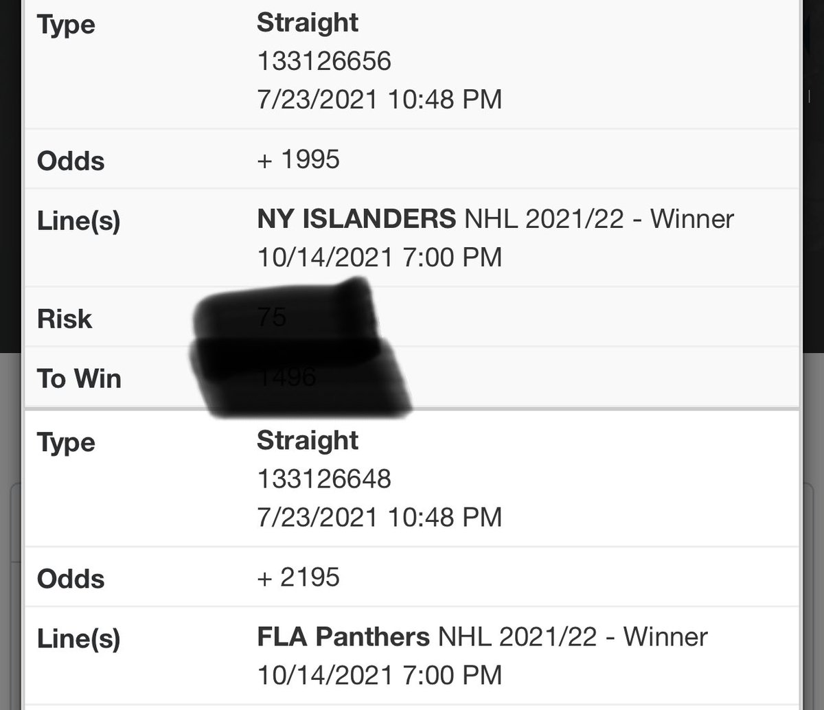 A couple of SC futures I locked in early… Will add to this thread throughout the summer/next season.   Islanders - +1995 Panthers - +2195 https://t.co/PkJmlNKHvO