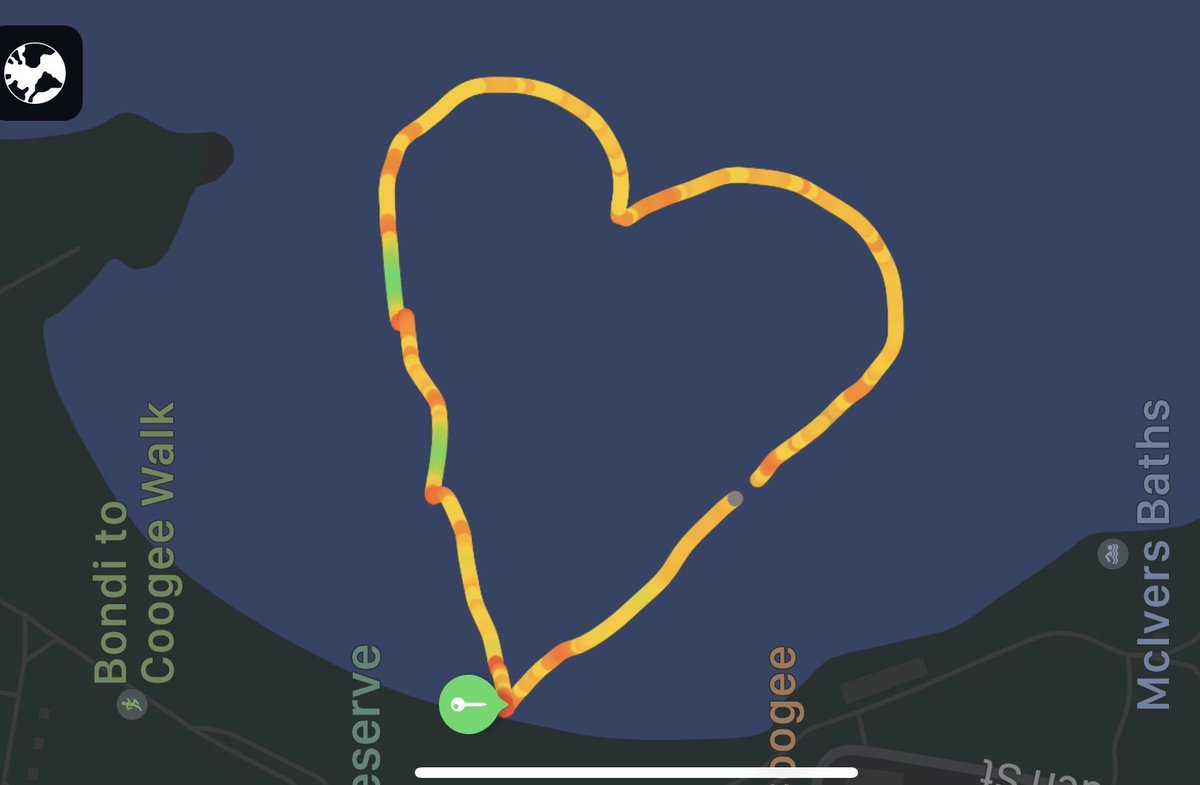 Lockdown electronic artwork 2.    A 1km long sketch for Toni Baker at Coogee Beach this morning.  Created by using a GPS to track  my ocean swim!  #architectsajc #swimming #architecture #art #antarctica.  #smh.  #artgalleryofnsw  #photography #design #coogeesurflifesavingclub https://t.co/2O1d34z4JT