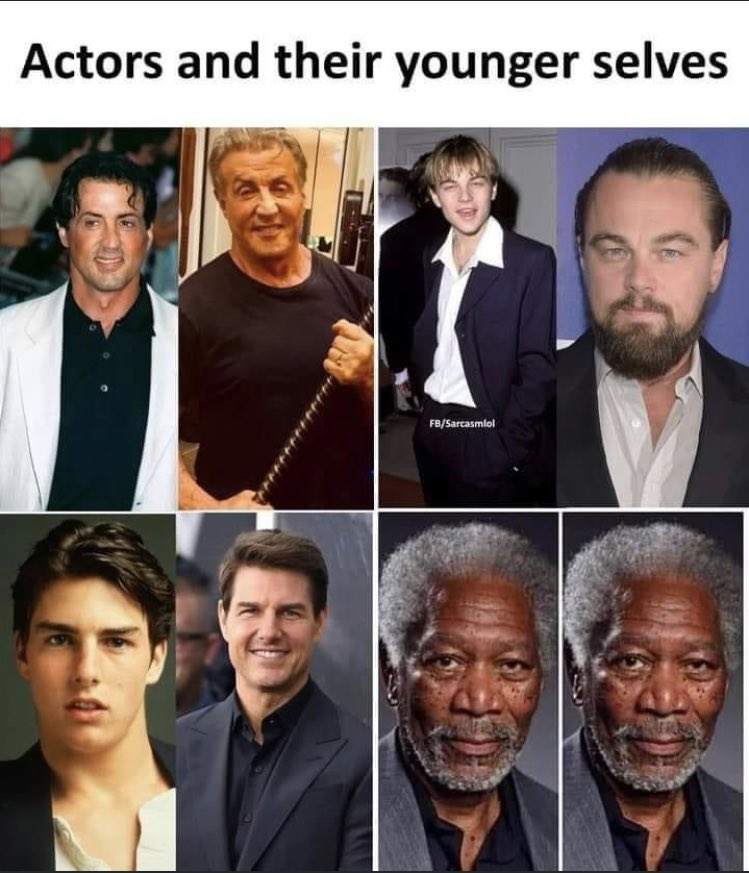 #famous #actors and their #younger selves #sylvesterstallone #ROCKY #LeonardoDiCaprio #TomCruise #MorganFreeman #handsome #cute #sag https://t.co/QXKtPu8VTZ