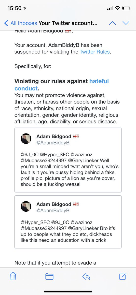 This is the biggest dogshit platform, will continue to let racists, terrorists and homophobes on this site but I get a lifetime ban for confronting a homophobic wanker, absolute joke @Twitter, absolute clueless as fuck #Twitter #TwitterBan #NeedJustice https://t.co/vgBi4vFOzJ