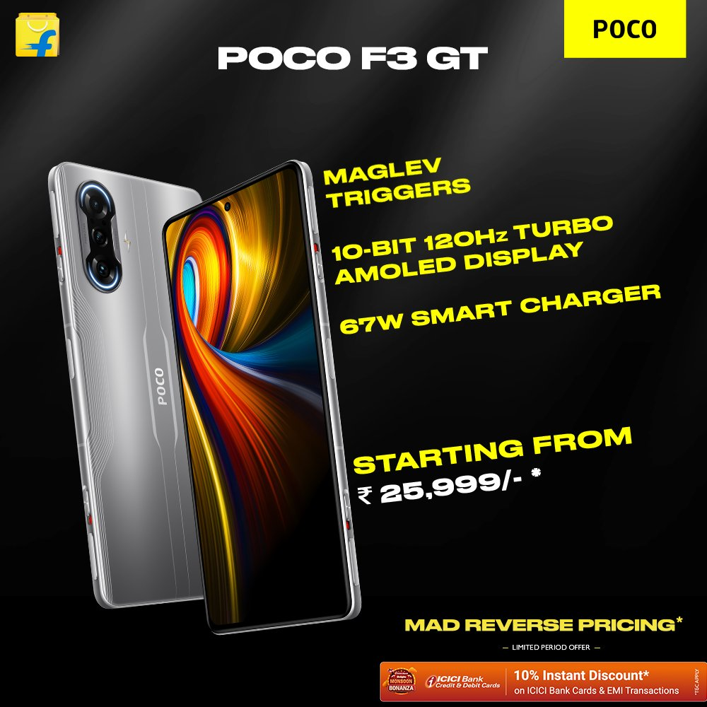 #POCOF3GT: The most awaited phone of  t̶h̶e̶ 2 years is here! Chance to grab one before the world.  Pre-order today coz it's time to #SwitchItUp. Your time starts at 12PM.  Offer valid only for Flipkart Plus members.  P.S: For non-Flipkart Plus members bank offer starts tomorrow. https://t.co/A3Cwxlp8z1