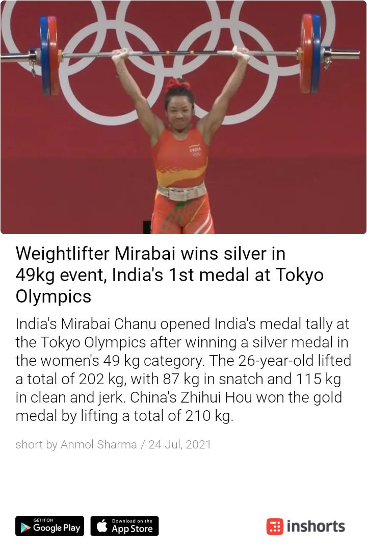 The tally opens! Congratulations to Mirabai on winning Silver Medal for India.  Wish our Olympians great run! Super Proud Moment ✊  https://t.co/NakRVbjs25 https://t.co/eybdTBsCQ0